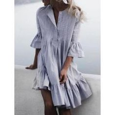 General Tunic Neutral Day Dresses Round Neckline Spring Summer Cotton A-line Dress S M Knee-Length L Sleeves XXL Ruffles Solid Dress Robe Swing, Swing Dress, Trendy Summer Outfits, Summer Dresses, Stylish Outfits, Casual Summer, Look Fashion, Fashion Beauty, Latest Fashion