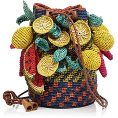 Jamin Puech Exotic Fruits Straw Mini Bag  - crochet