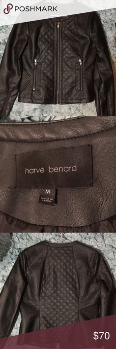 Harve Bernard Faux Leather Jacket EUC- only worn twice! This is a matte black faux leather jacket with a quilted pattern and silver hardware. It is 75% Rayon and 25% PU. Medium Size (I'm a 36B for reference). Add this timeless piece to your collection! Price is negotiable :) Harve Benard Jackets & Coats