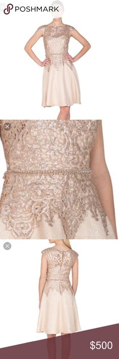 Badgley Mischka Sequin Lace & Tweed Cocktail Dress This stunning cocktail dress features a lace-style sequin overlay atop a metallic tweed bodice and skirt.  The chic A-line hem falls just below the knee to complete the ladylike silhouette.  100% polyester. Badgley Mischka Dresses