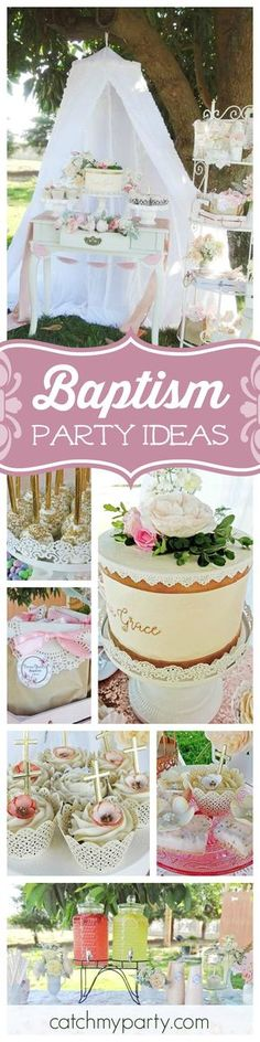 You are going to love this beautiful Shabby Chic Baptism Garden Party! The cupcakes are gorgeous!! See more party ideas and share yours at CatchMyParty.com
