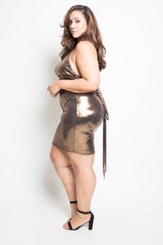 Plus Size Metallic Multi-Way Mini Dress