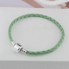 Pandora Authentic Light Green Leather Snake Chain Bracelet With 925 Sterling Silver Clasp #pandorabracelet #pandora