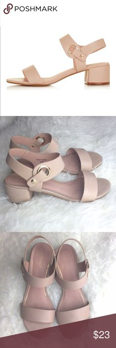 """Topshop Dart Two-Part Sandal Style up your look with these sleek two-part sandals, with metal eyelet detail, we love the simple styling for a casual feel. Wear with cute ankle socks for trans-seasonal chic. Heel height - 2"""". 100% Polyurethane. Excellent pre-worn condition. Topshop Shoes Sandals"""
