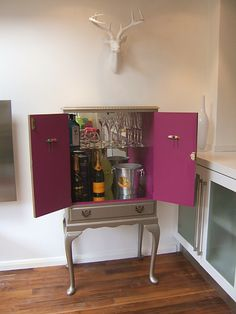 lovethisfurniture.net Stunning Cocktail cabinet, finished in silver and pink