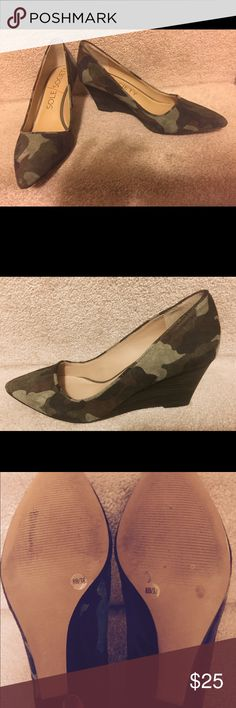 Sole Society Wedge 'Camo' shoes. Worn once Camo wedge heel. Dark colors of gray, brown, olive. Beautiful shoes.... and comfortable! Feel free to ask questions! Sole Society Shoes Wedges