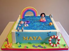 Swimming Pool Cake Ideas Party By Designs Via 7 Best Cakes Images On Pools Pool Birthday Cakes, Pool Party Cakes, Pool Cake, Cake Party, 9th Birthday, Birthday Parties, Baby Boy Cakes, Girl Cakes, Swimming Cake