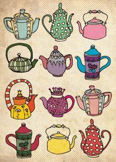 Vintage Teapots Hand-crafted metal posters by Duru Eksioglu, by buying 1 displate, we plant 10 trees. Teapot Tattoo, Tee Kunst, Teapot Design, Buch Design, Poster Prints, Art Prints, Tea Art, Handmade Copper, Print Artist