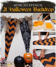 DIY Halloween party decorations - Banner backdrop for Holiday decor - Stencils from Royal Design Studio
