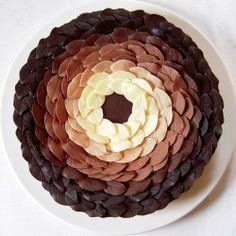 GORGEOUS! almond dacquoise cake layers with Coffee Buttercream and Chocolate Leaves