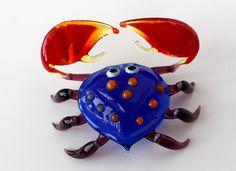 Blown Glass Crab Figurine Russian Murano Art by BlownGlassFigurine, $17.99