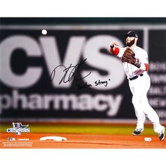 """Dustin Pedroia Boston Red Sox Fanatics Authentic Autographed 16"""" x 20"""" 2013 World Series Champions Throwing Photograph with Boston Strong Inscription - $223.99"""