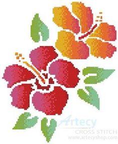 Hibiscus cross stitch pattern.