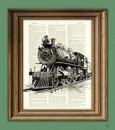 Train Art Print LOCOMOTIVE Train Steam Engine beautifully upcycled vintage dictionary page book art print