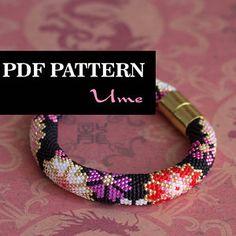 PDF Pattern for beaded crochet bracelet - Seed bead pattern - Black pink bracelet - Asian style - Japanese floral print - Colorful bracelet