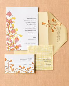 Golden bellflowers and dusty-pink fuchsias mingle on this invitation