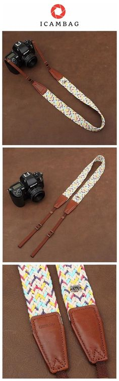 Weaving Style DSLR White Sony Nikon Canon Handmade Leather Camera Strap 8784 Handmade with top layer cow leather and denim. It can fit almost every DSLR, SLR and some larger digital cameras. ********* #digitalcameras