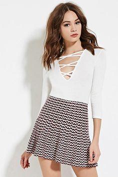 Zigzag Skater Skirt $24.90 WOMENS - Clothing | WOMEN | Forever 21