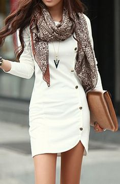 Perfect #travel outfit - Enchanting Long Sleeve White Sheath Dress with Button - $14.81 #style #fashion