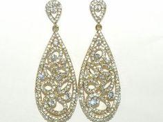 Dramatic gold vintage long drop wedding earrings