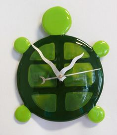 Fused Glass Clock! Turtle  -Copper Moon Studio