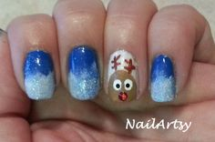 By Valerie Wilson - Rudolph The Red Nose Reindeer - Christmas / Winter Nail Art - Gallery - Nail Artsy