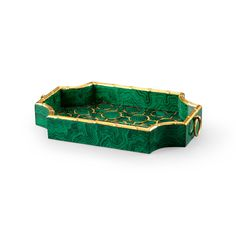 THE WELL APPOINTED HOME Hand Decorated Bamboo Tray in Green Malachite Finish with Gold Details