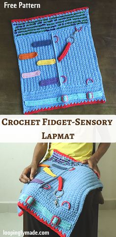 Make a crocheted Fidget-Sensory Lapmat with this free pattern. This fidget lapmat is designed for seniors suffering from alzheimers disease. It can also be easily customised to add child friendly elements. This lapmat is made with basic crochet stitches,y All Free Crochet, Crochet Baby, Knit Crochet, Crochet Cushions, Crochet Pillow, Blanket Crochet, Afghan Crochet Patterns, Crochet Patterns For Beginners, Crochet Blocks