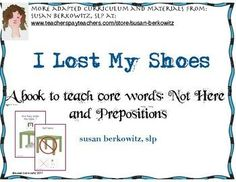 """This is an interactive book illustrating the core word phrase """"Not here,"""" for teaching your AAC users and minimally verbal students.Inside you will find:* Background on Core Vocabulary and Aided Input* a 22 page interactive book Where are my shoes?* 2 copies each of prepositions symbols and not here symbols for students to interact with the book* a calendar page with one opportunity tip per day to practiceYou might also like a bundle of 3 games to teach core words and my AAC Starter Kit…"""