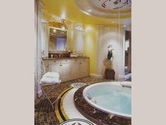 Marble details? Check. Amazing tiles? Check. Jacuzzi in the bathroom? Check! #luxury