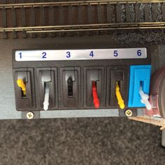 Inglenook South in numbers, six. The layouts points and signals are controlled from just 6 switches.