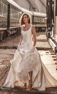 bhldn 2018 away bridal sleeveless scoop neckline simple clean bodice satin skirt classic ball gown a  line wedding dress scoop back chapel train (3) mv -- Away We Go… BHLDN 2018 Bridal Collection