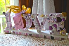 RESERVED Mosaic Word LOVE in lavenders and purples for Gail