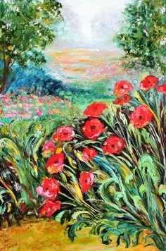 Large Landscape painting original oil Provence Poppies Flowers palette knife on canvas fine art impressionism by Karen Tarlton