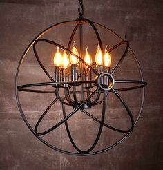 Industrial Vintage Chandelier Pendant Light Ceiling Lamp Metal Cage 6 lights in Home, Furniture & DIY, Lighting, Ceiling Lights & Chandeliers   eBay