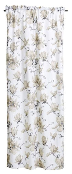 Magnolia-sivuverho - Finlayson verkkokauppa Magnolia, Curtains, Shower, Prints, Rain Shower Heads, Blinds, Magnolias, Showers, Printed