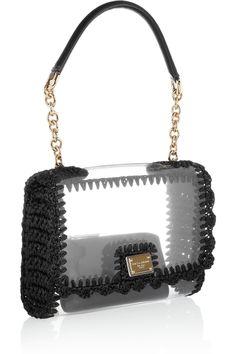 Dolce & Gabbana|Raffia-trimmed PVC shoulder bag|NET-A-PORTER.COM