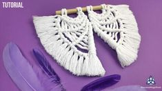 Learn how to make an easy macrame wall hanging in the shape of Angel Wings. This mini hanger will be a nice addition for your wall decoration Macrame Board: . Diy Angel Wings, Angel Wings Wall Decor, Diy Wings, Macrame Wall Hanging Patterns, Macrame Patterns, Macrame Projects, Crochet Projects, Diy Yarn Decor, Macrame Tutorial
