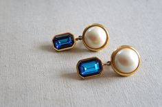 Vintage YSL Dangle Earrings | Pearl and Rhinestone Clip-on Earrings by SunnywoodVintage on Etsy, $85.00
