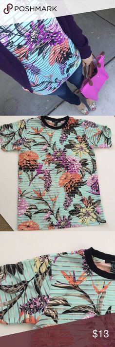Sheer Floral Top Lightweight top with large, tropical floral design. Striped sheer material throughout. Perfect condition. *NO TRADES* Forever 21 Tops Tees - Short Sleeve
