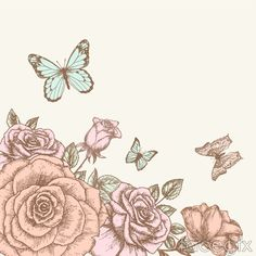 Hand-painted roses and Butterfly design vector