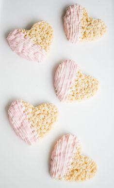 Chocolate Dipped Heart Rice Krispies Treats | Valentine's Day Treat Ideas (rice krispy treats recipe kitchens)