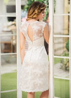 A-Line/Princess Scoop Neck Knee-Length Lace Wedding Dress (002052768) - JJsHouse