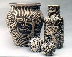 4 Sgraffito Pots Large  Small By Rachel Wolf | Flickr