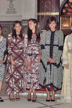 For dinner with Princess Lalla Salma of Morocco, the first lady switched into a printed Altuzarra shirtdress.