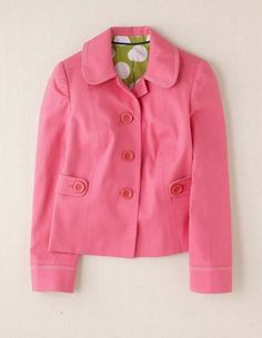 Love this delicate, lady-like jacket with girl power pink attitude. (Boden USA)
