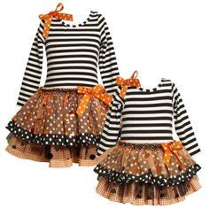 Bonnie Jean Stripes and Sparkles Halloween Dress...