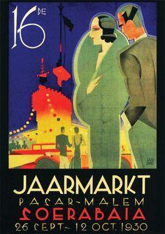 Indonesia ~ Jaarmarkt Pasar-Malem Soerabaia (Jan Lavies) Advertising in the Dutch East-Indies (Nederlands-Indië). A reminder of the Tempo Doeloe.