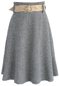 Nifty Houndstooth Wool-blend A-line Skirt - Retro, Indie and Unique Fashion