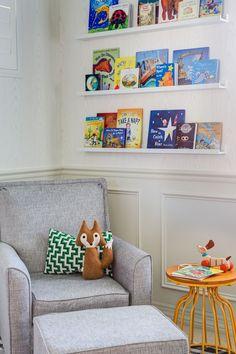 Boys Nursery Reading Nook - how fun is that little fox pillow?!